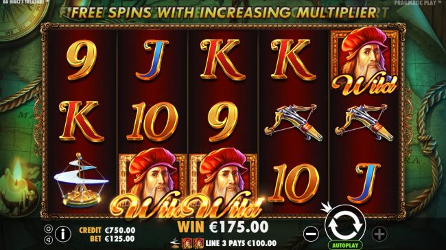 Spiral featuring the Video Slots Da Vinci's Treasure with a maximum payout of $500,000