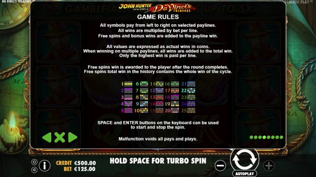 Mayflower featuring the Video Slots Da Vinci's Treasure with a maximum payout of $500,000