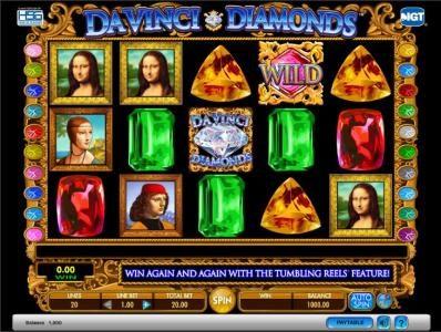 Da Vinci Diamonds slot game playing board