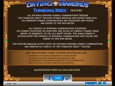 Da Vinci Diamonds slot game tumbling reels feature