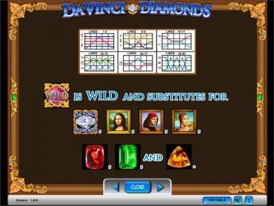Da Vinci Diamonds slot game wild feature