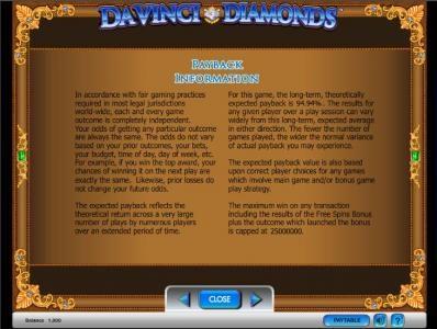 Da Vinci Diamonds slot game payback information