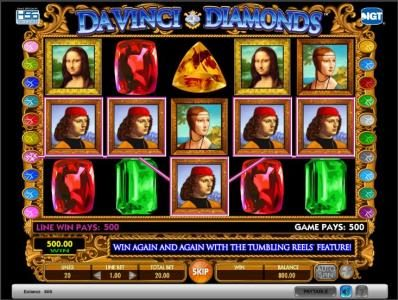 Da Vinci Diamonds slot game big win jackpot