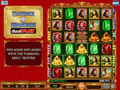 Mr Green featuring the Video Slots Da Vinci Diamonds Dual Play with a maximum payout of $250,000