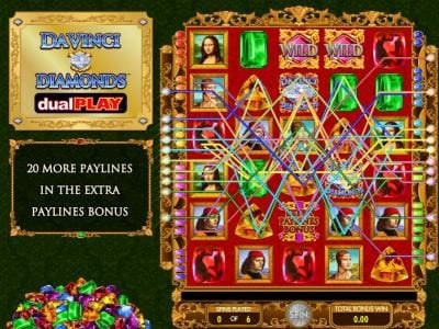 Zinger Spins featuring the Video Slots Da Vinci Diamonds Dual Play with a maximum payout of $250,000