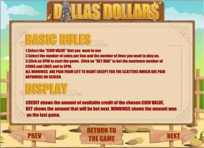 X-Bet featuring the Video Slots Dallas Dollars with a maximum payout of $10,000