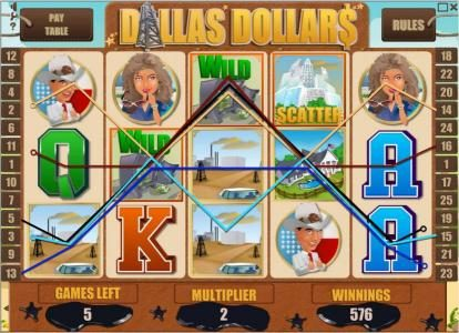 Wicked Bet featuring the Video Slots Dallas Dollars with a maximum payout of $10,000