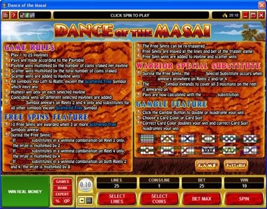 Cinema featuring the Video Slots Dance of the Masai with a maximum payout of $5,000
