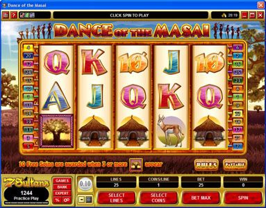 Casino Cruise featuring the Video Slots Dance of the Masai with a maximum payout of $5,000