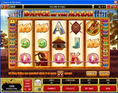 UK Casino Club featuring the Video Slots Dance of the Masai with a maximum payout of $5,000