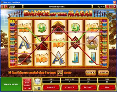 Play slots at MANSION: MANSION featuring the Video Slots Dance of the Masai with a maximum payout of $5,000