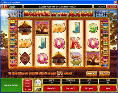 Monaco Aces featuring the Video Slots Dance of the Masai with a maximum payout of $5,000