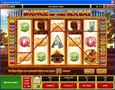 Videoslots featuring the Video Slots Dance of the Masai with a maximum payout of $5,000
