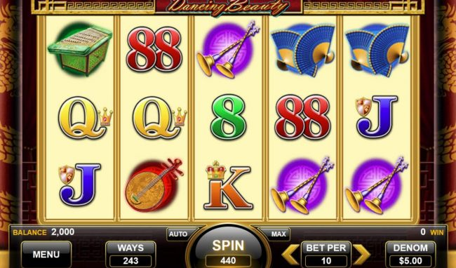 Dancing Beauty :: Main game board featuring five reels and 243 ways to win with a $13,200 max payout.