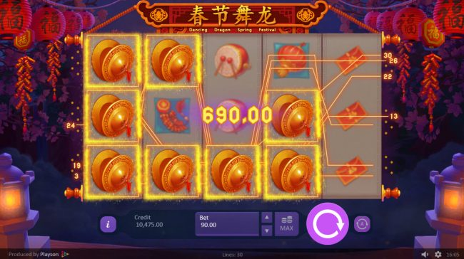 Unique Casino featuring the Video Slots Dancing Dragon Spring Festival with a maximum payout of $450,000