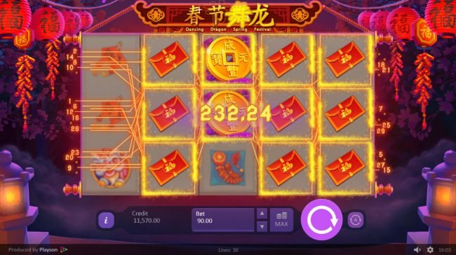 LaFiesta featuring the Video Slots Dancing Dragon Spring Festival with a maximum payout of $450,000