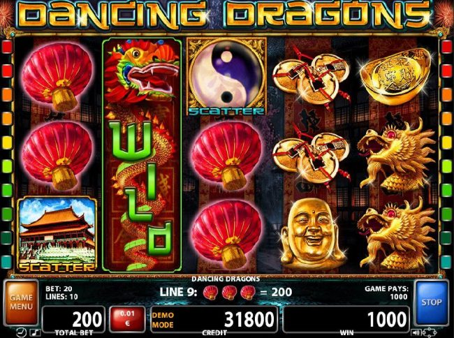 Zet Casino featuring the Video Slots Dancing Dragons with a maximum payout of $150,000