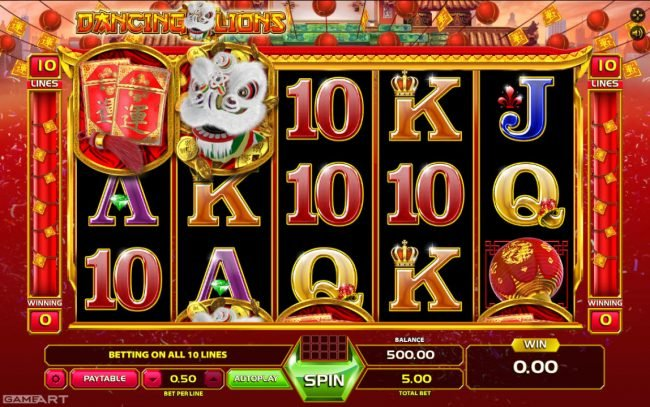 Magik Slots featuring the Video Slots Dancing Lions with a maximum payout of $2,500