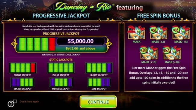 Dancing in Rio :: FEATURES INCLUDE A PROGRESSIVE JACKPOT AND FREE SPINS.