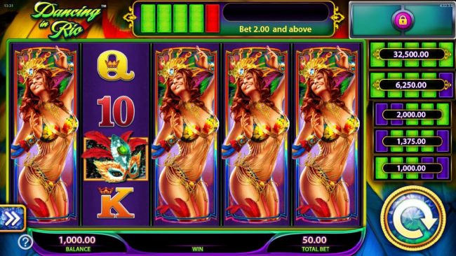 Dancing in Rio :: Main game board featuring five reels and 40 paylines with a $250,000 max payout