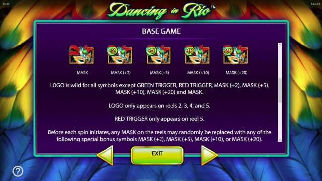Dancing in Rio :: Logo is wild for all symbols except green triggerm red trigger, and masks