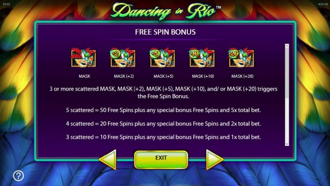 Dancing in Rio :: 3 or more scattered mask symbols triggers the free spins feature.