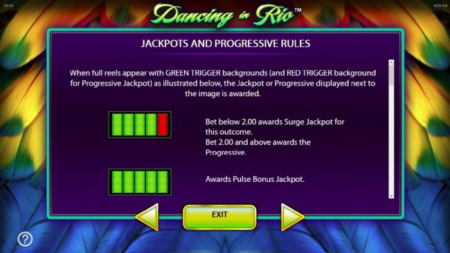 Dancing in Rio :: Jackpot and Progressive Rules.