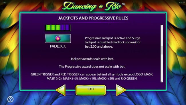 Dancing in Rio :: Jackpot and Progressive Rules. - continued