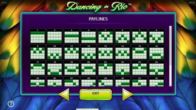Dancing in Rio :: Payline Diagrams 1-32
