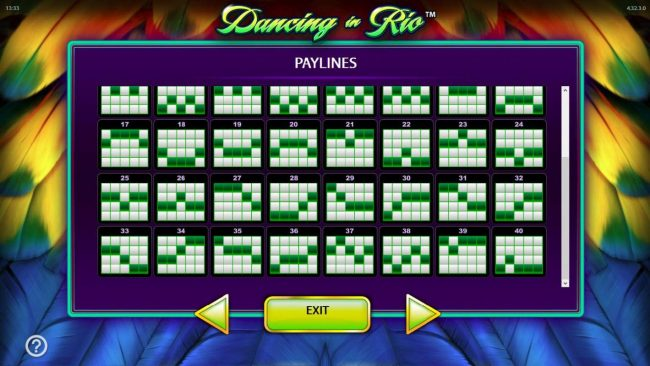 Dancing in Rio :: Payline Diagrams 17 - 40