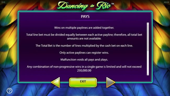 Play slots at Norske Casino: Norske Casino featuring the Video Slots Dancing in Rio with a maximum payout of $250,000