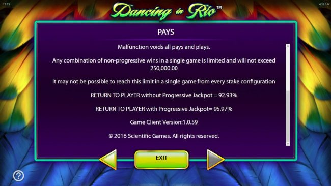 Dancing in Rio :: The theoretical return to Player RTP is 92.93% without progressive jackpot, 95.97% with progressive jackpot.