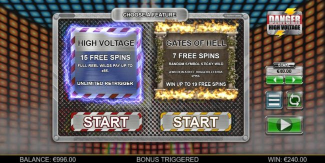 Spinrider featuring the Video Slots Danger High Voltage with a maximum payout of $160,000