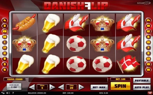 Play 24 Bet featuring the Video Slots Danish Flip with a maximum payout of $5,000,000