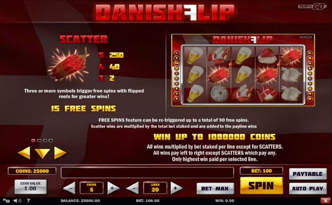 Zet Casino featuring the Video Slots Danish Flip with a maximum payout of $5,000,000
