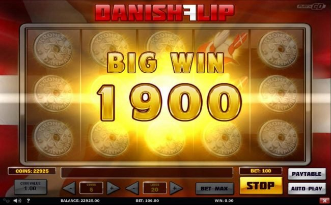 Multiple winning paylines triggers a 1900 coin big win!