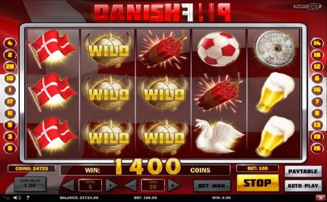Wild symbols combine with flag symbols on reels 1, 2 and 3 for a 1400 coin jackpot.