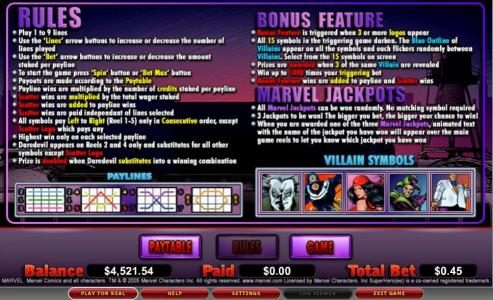 Omnia featuring the video-Slots Daredevil with a maximum payout of 8,000x