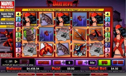 Casiplay featuring the video-Slots Daredevil with a maximum payout of 8,000x