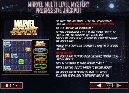 all marvel slots are linked to four mystery progressive jackpots