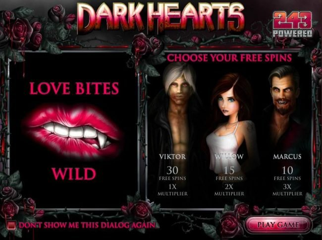Play slots at Dendera: Dendera featuring the Video Slots Dark Hearts with a maximum payout of $75,000