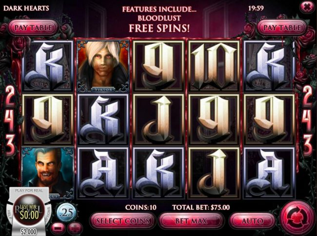 Vegas2Web featuring the Video Slots Dark Hearts with a maximum payout of $75,000