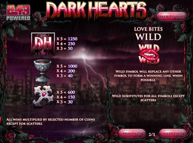 Club Vegas USA featuring the Video Slots Dark Hearts with a maximum payout of $75,000