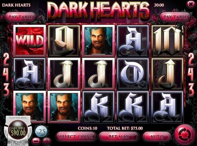 Pantasia featuring the Video Slots Dark Hearts with a maximum payout of $75,000