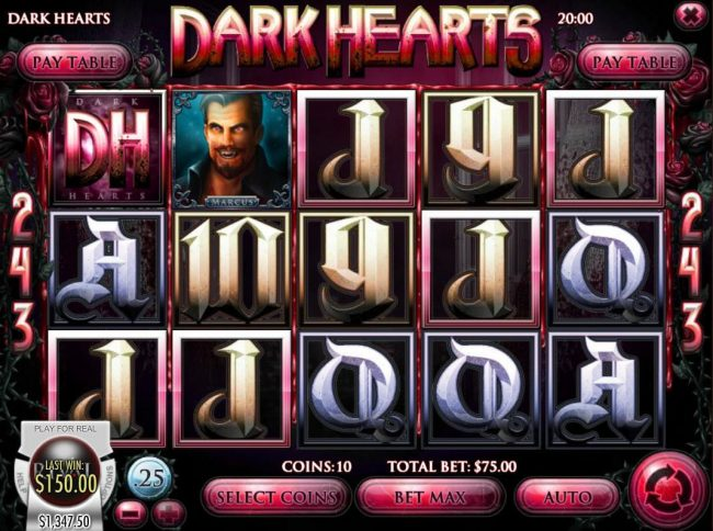 Vanguard featuring the Video Slots Dark Hearts with a maximum payout of $75,000
