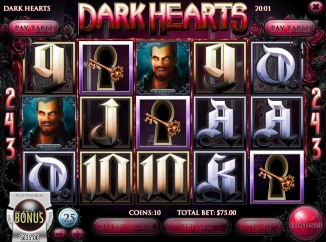 Grand Bay featuring the Video Slots Dark Hearts with a maximum payout of $75,000