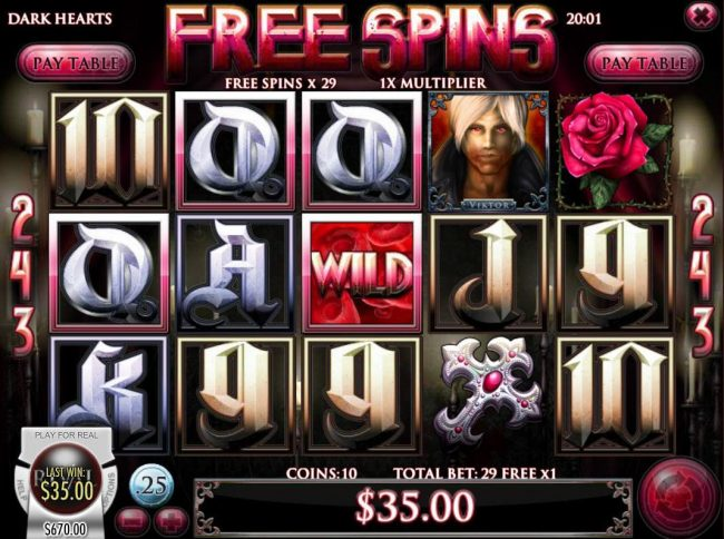 Gibson featuring the Video Slots Dark Hearts with a maximum payout of $75,000