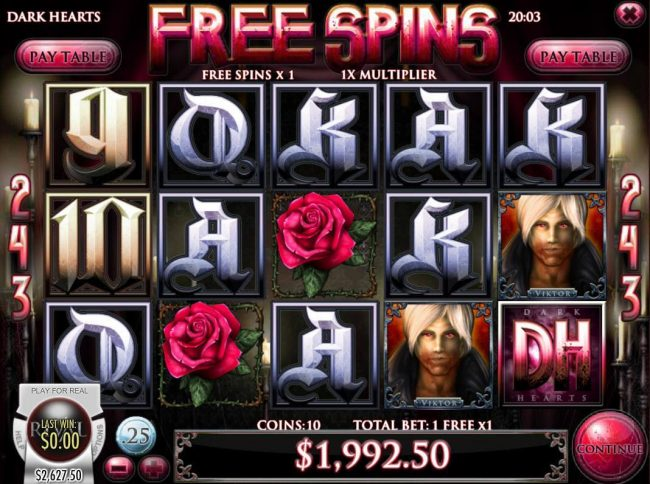 Slots LV featuring the Video Slots Dark Hearts with a maximum payout of $75,000