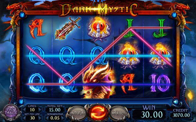 Dark Mystic :: Multiple winning paylines triggers a big win