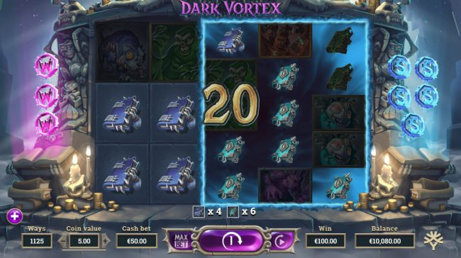 Play slots at Wildz Casino: Wildz Casino featuring the Video Slots Dark Vortex with a maximum payout of $72,900